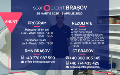 UPDATE 26.03.2020 ANUNT SCANEXPERT BRAȘOV – COMPUTER TOMOGRAF SI RMN